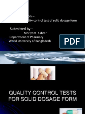 quality control test of pharmaceutical solid dosage form  ppt