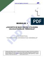 M1. Concepte de Baza Pentru Utilizarea Calculatoarelor Personale