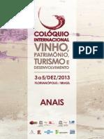 Anais Colóquio Internacional Vinho, Patrimônio, Turismo e Desenvolvimento