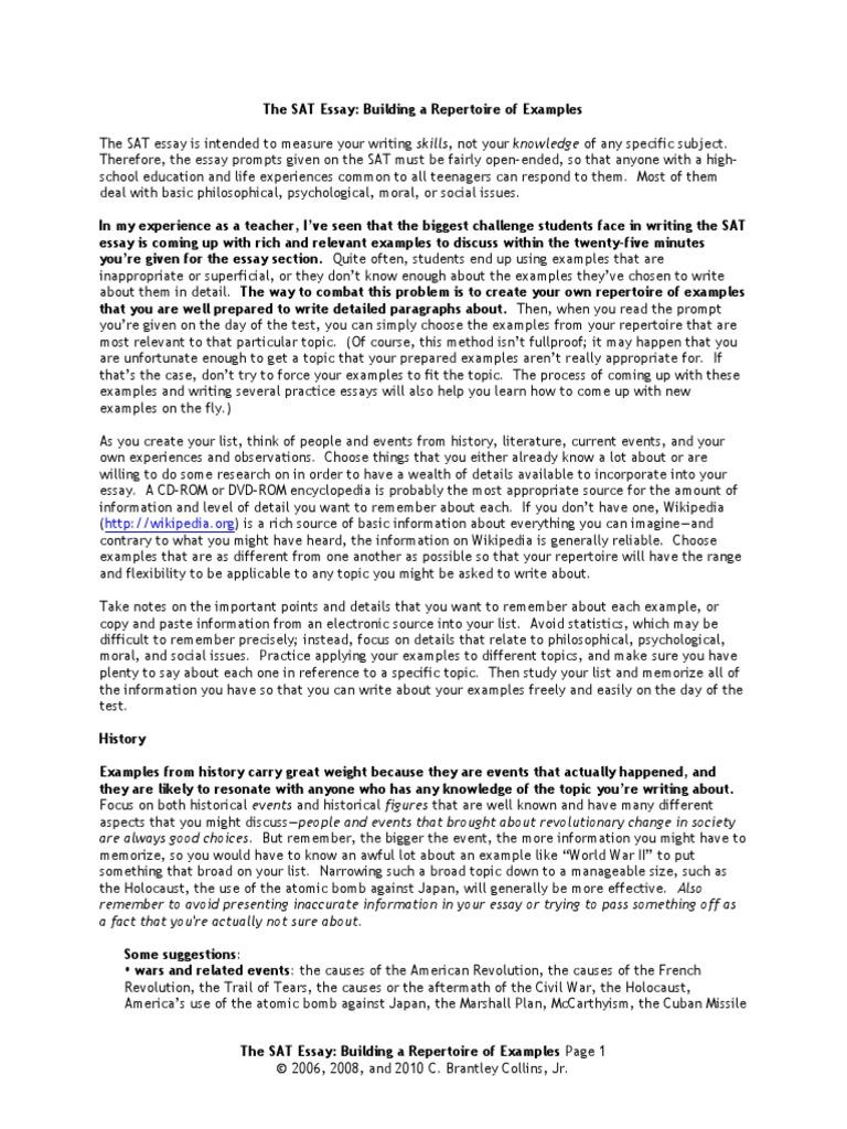 common sat essay questions