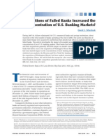 Acquisition of Failed Banks Increased the Concentration of US Banking Markets