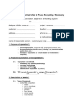 Technical Questionnaire for E-Waste Recycling / Recovery