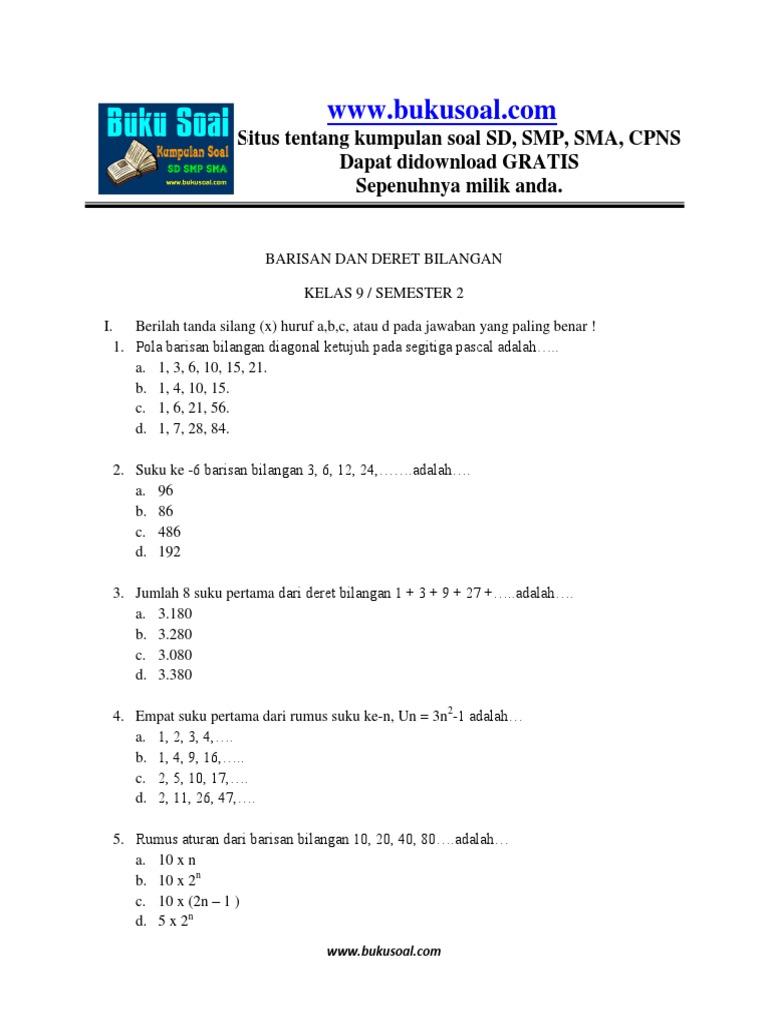 6 Latihan Soal Matematika Barisan Dan Deret Bilangan Kelas 9 Smp