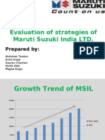 Evaluation of Strategies Followed by Maruti Suzuki India Ltd