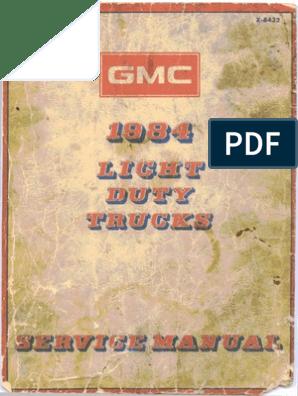 1984 gmc light duty trucks service manual   fahrenheit   screw  scribd
