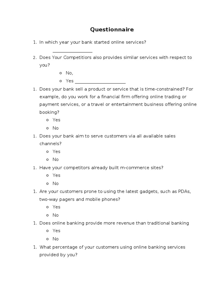 Questionnaire For Online Banking Survey