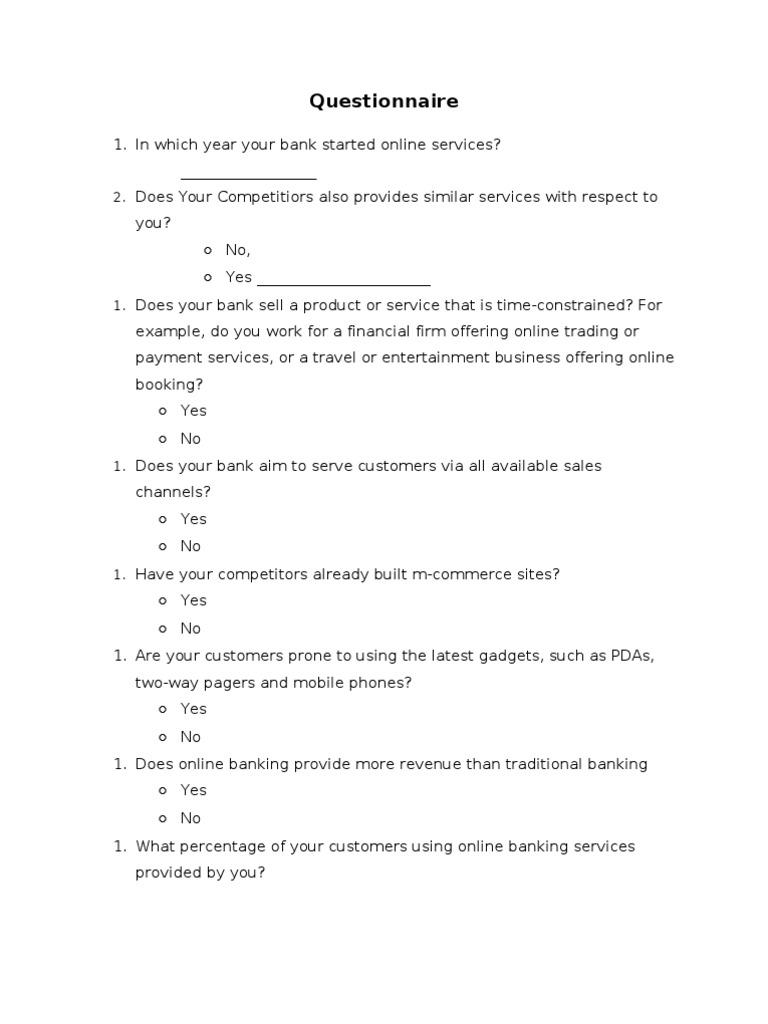 online questionnaire template