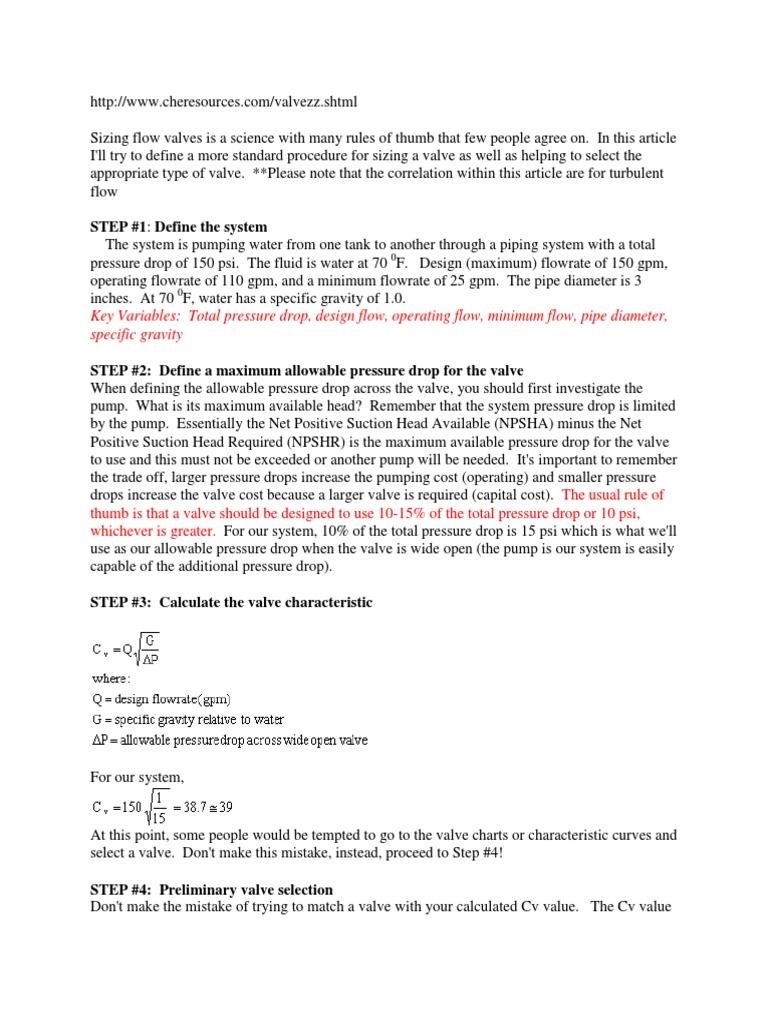 Valve Sizing Sample Calculation | Valve | Pressure
