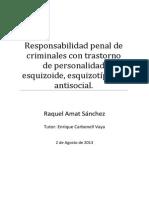 TFG Responsabilidad Penal de Criminales Con Trastornos de Personalidad Esquizoide, Esquizotipico y Antisocial