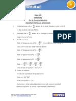 Important Formulae XII,Physical Chemistry_Chemical Kinetics
