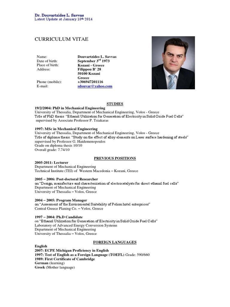 Resume (CV) of Dr. Douvartzides Savvas   Solid Oxide Fuel Cell ...