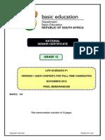 Life Sciences P1 Nov 2012 Version 1 Memo Eng