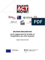 BALKANS DECLARATION sur la suppression de la traite et l'exploitation des êtres humains