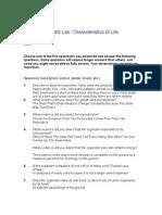 D.marshall Bio1a Characteristics Lab