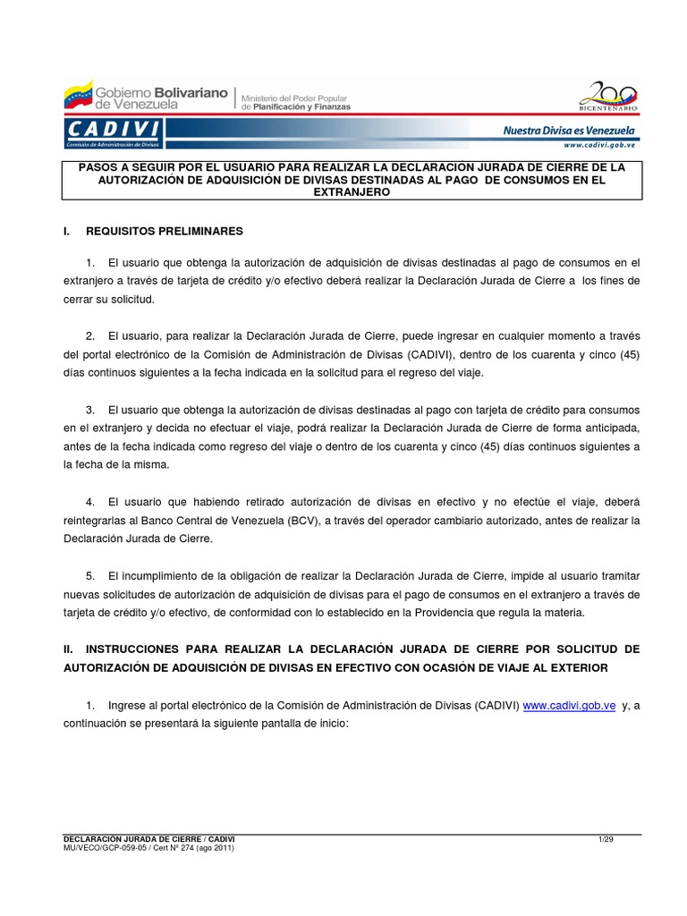 Declaracion Jurada Cierre de CADIVI