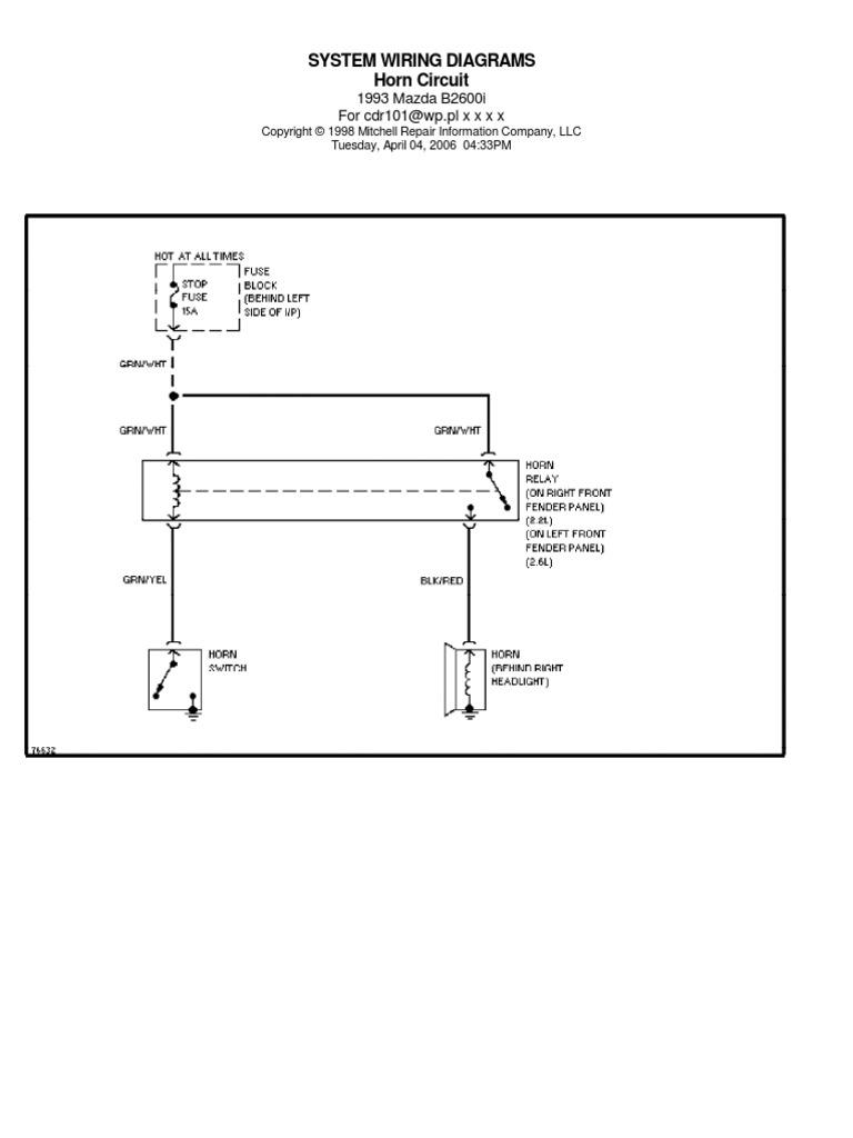 1993 Mazda B2600 Diagram Electr