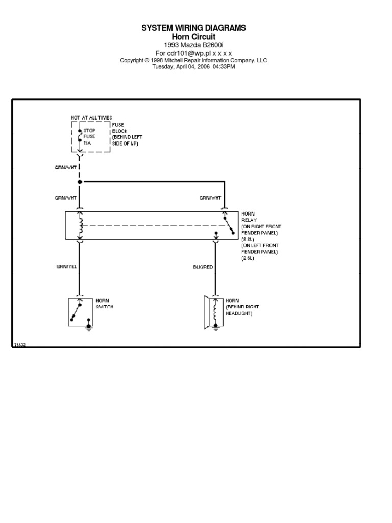 [DIAGRAM_5NL]  1993 Mazda B2600 Diagram Electr | Manufactured Goods | Vehicle Technology | Mazda Bravo Ignition Wiring Diagram |  | Scribd
