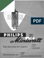 Tubes électroniques Philips miniwatt pour récepteurs Radio,FM et de télévision