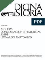 Algunas Consideraciones Historicas Sobre Leonardo Anatomista- Benet Rafael