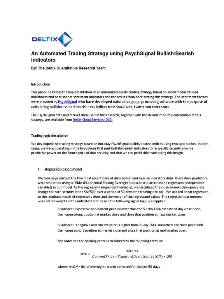 An Automated Trading Strategy Using Psychsignal Bullish