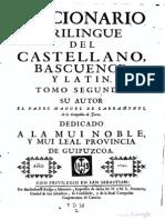 Diccionario trilingüe del castellano, bascuence y latín (I-Z) - Larramendi (1745)