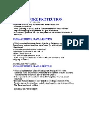 Genartor Protection Class A B C | Transformer | Relay