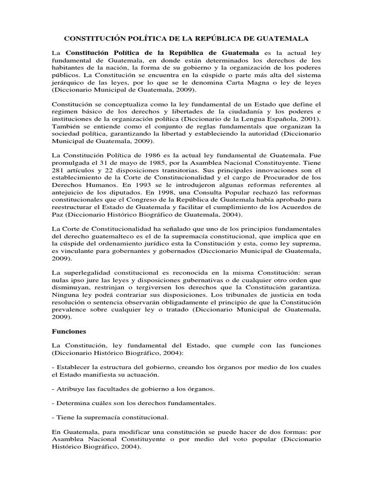 Constitución Política De La República De Guatemala