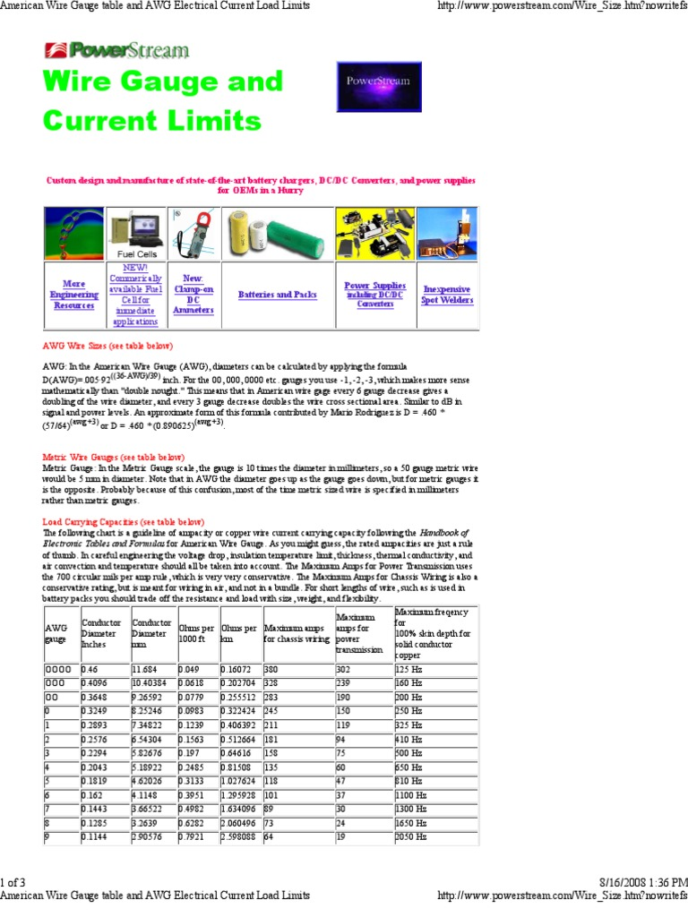 Wire Gauge Current Rating | Current Load Wire Gauge Wire Center