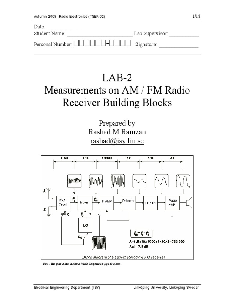 Lab2 Am Fm Radio Autumn2009 Detector Frequency Modulation 70mhz Rf Power Amplifier