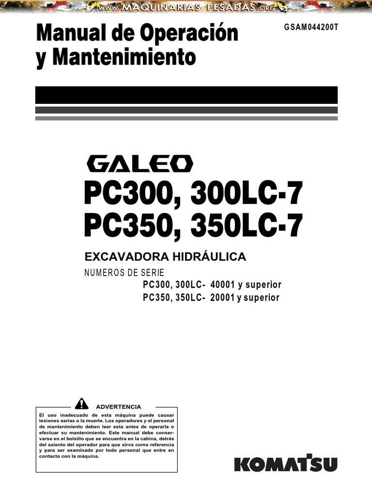 Manual Operacion Mantenimiento Excavadora Pc300 350lc Komatsu