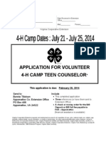 2014 4-H Camp Teen Counselor Application