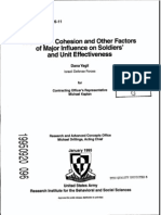 A Study of Cohesion and Other Factors of Major Influence on Soldiers' and Unit Effectiveness ADA299079