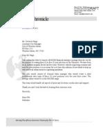 Winston-Salem Chronicle loan assistance letter