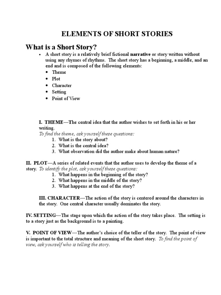 Worksheets Short Story Questions elements of short stories what is a story narration cognitive science