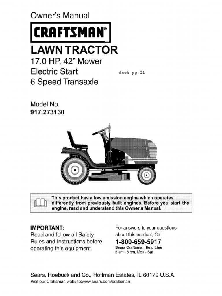 Craftsman LT2000 Owners Manual Tractor – Lt2000 Craftsman Mower Wiring Diagram