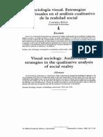"""Pinto, Carmelo. Sociologia Visual  """"Estrategias audiovisuales en el análisis cualitativo de la realidad social"""""""