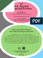 PK Rajan Memorial Lecture 2014