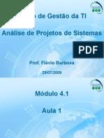 Aula 1 - Análise de Projetos de Sistemas