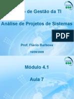 Aula 7 – Análise de Projetos de Sistemas