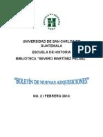 Boletin No.2 de Nuevas Adquisiciones Biblioteca Severo Martinez Pelaez.pdf