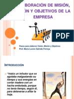 Elaboración de misión, visión y objetivos de