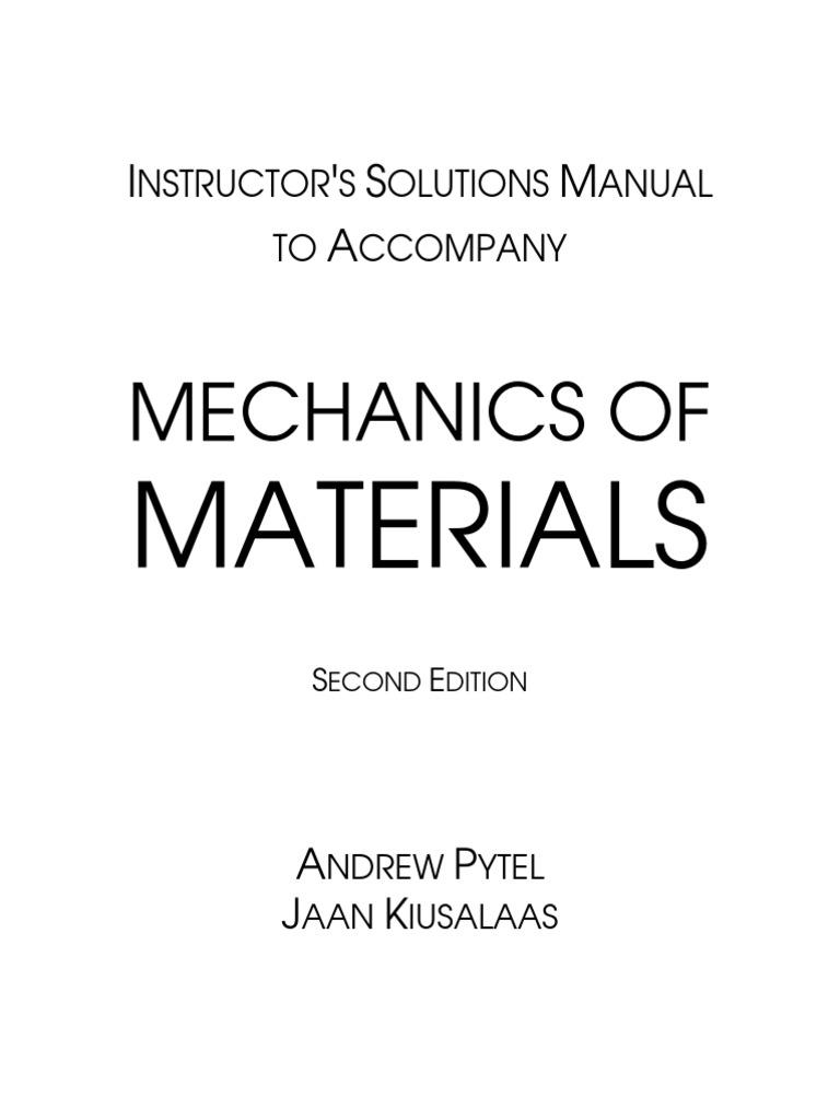 pytel mechanics of materials 2e solutions rh scribd com engineering mechanics statics andrew pytel solution manual pdf engineering mechanics statics pytel kiusalaas solution manual