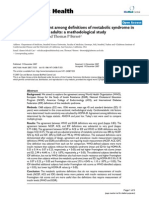 Analysis of Agreement Among Definitions of Metabolic Syndrome In