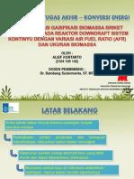 Karakterisasi Gasifikasi Biomassa Briket Serbuk Kayu Downdraft