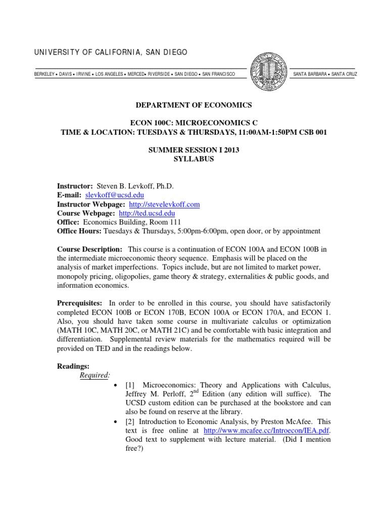 Econ 100c Syllabus Ssi13 | Final Examination | Test (Assessment)