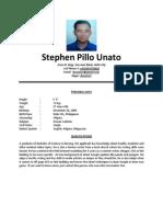 Stephen Pillo Unato CV