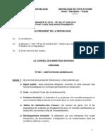 Ordonnance Code Investissements 7 Juin 2012