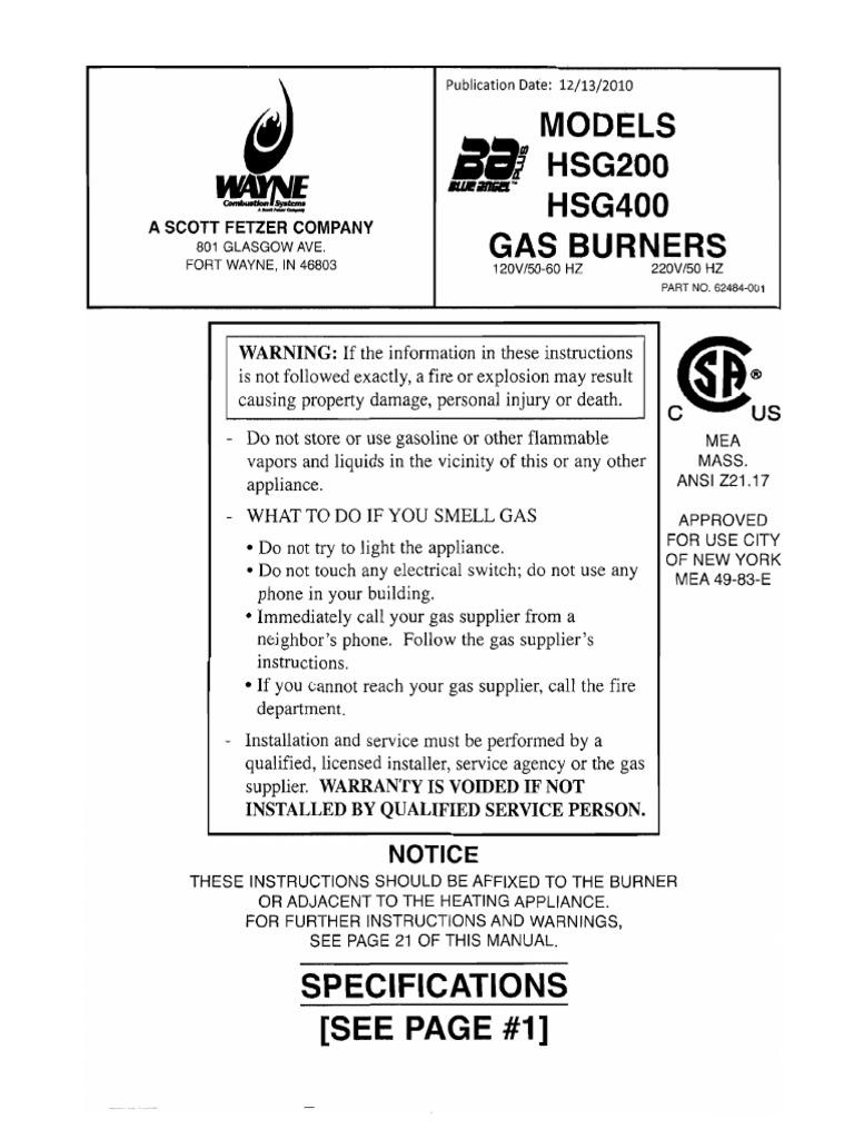 Manual 62484001b Hsg200400 Gas Powered Burners English | Chimney | Furnace