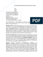 Modelo de Contrato Individual de Trabajo de Duracian Por La Obra o Labor Determinada