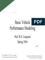 Basic Vehicle Performance Modeling